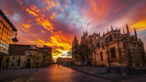 Atardecer en León - Catedral de León